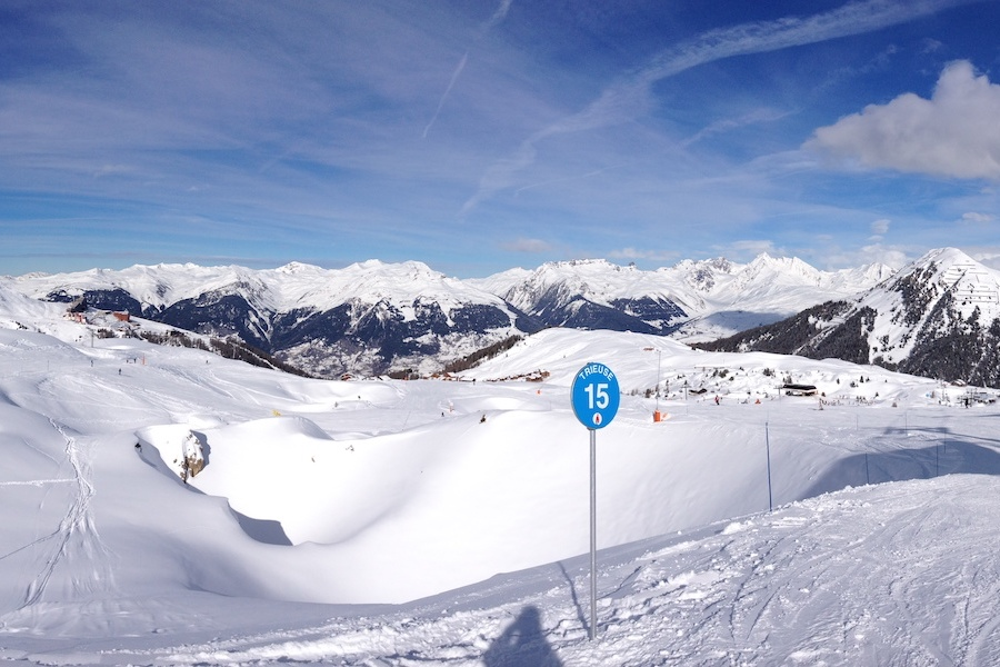 Wintersport in La Plagne, Frankrijk