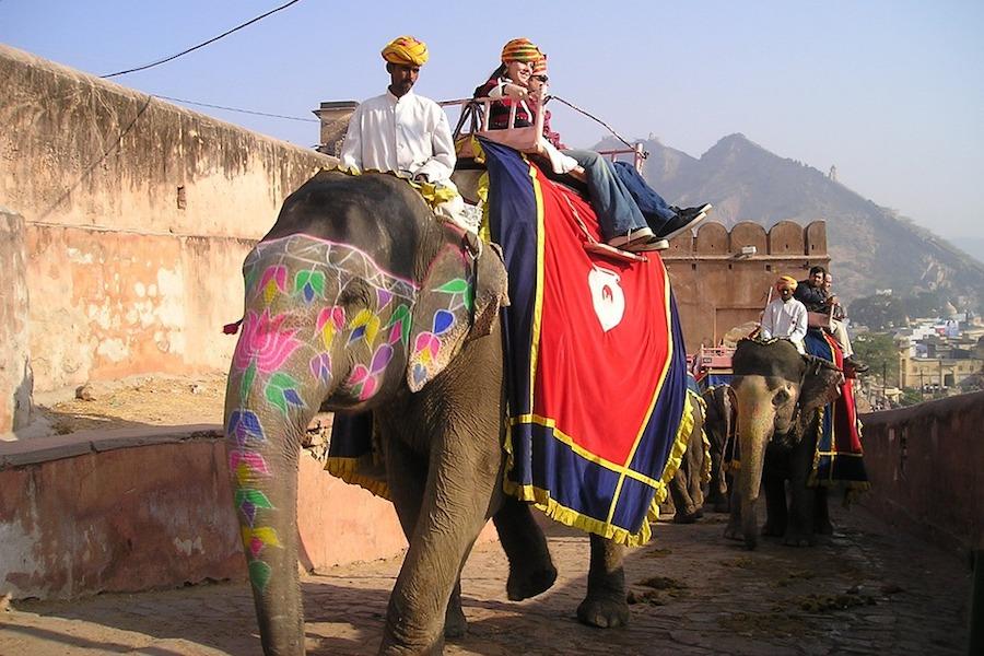 Olifant rijden in India